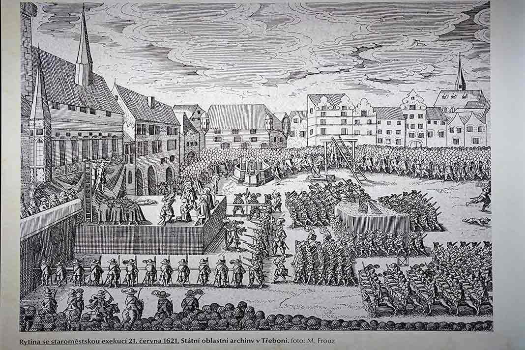 Fotografía de la Ejecución de los 27 nobles tras batalla de Bila Hora de la exposición del 2020 en plaza de la Ciudad Vieja